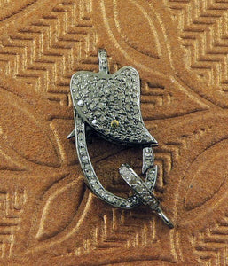 1 PC Pave Diamond Lobster Clasp Antique Finish over Sterling Silver - Diamond On Both Sides 24mmx11mm LB108