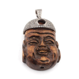 1 Pc White topaz Wood Buddha Face 925 Sterling Silver Pendant - Buddha Face Pendant 50mmx33mm PT148