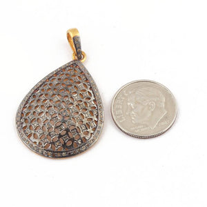 1 Pc Pave Diamond Pear Drop 925 Sterling Silver & Vermeil Pendant - Diamond Drop Antique Finish Pendant 33mmx23mm PD251