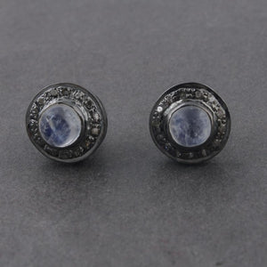 1 Pair Pave Diamond Genuine Rainbow Moonstone Studs With Back Stoppers - 925 Sterling Silver 10mm ED174