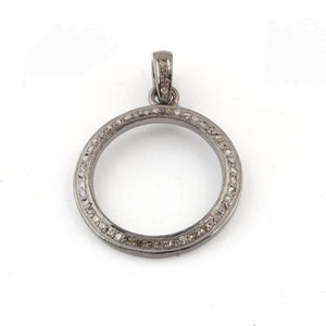 1 Pc Pave Diamond Round Pendant Over 925 Sterling Silver - Round Shape Diamond Pendant 26mmx22mm PD556