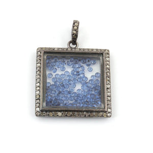 1 Pc Beautiful Pave Diamond Blue Sapphire Square Shaker Pendant Over 925 Sterling Silver 25mmx21mm PD245