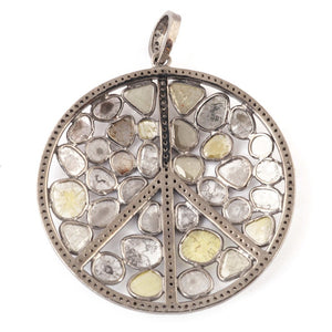 1 Pc Pave Diamond With Rose Cut Round Peace Pendant - 925 Sterling Silver - Necklace Polki Pendant 47mmx45mm PD1418