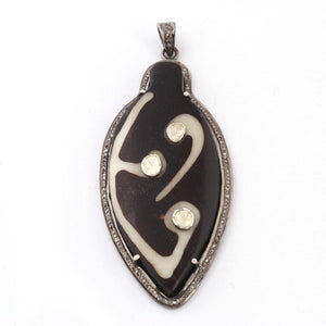 1 PC Pave Diamond & Rosecut Diamond Tribal Beads Buffalo Bone Pendant Over 925 Sterling Silver- Batik Pendant PD024