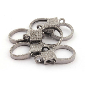 1 Pc Pave Diamond Lobsters Clasp Antique Finish Over 925 Sterling Silver - Double Sided Diamonds 30mmx18mm DL009