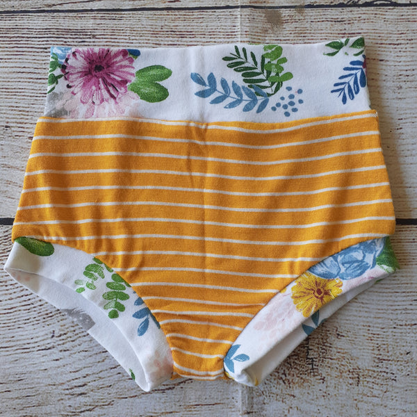 Mustard Stripes and Floral Bummies RTS