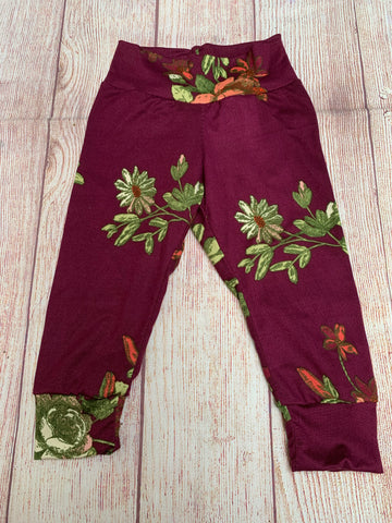 RTS Burgundy Floral Cuffed Pants