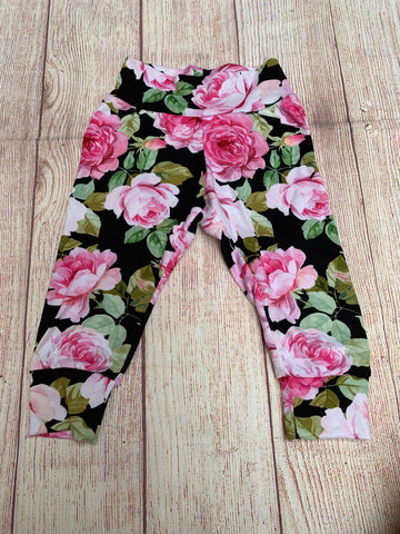 RTS 9/12m Pink Floral on Black Cuffed Pants