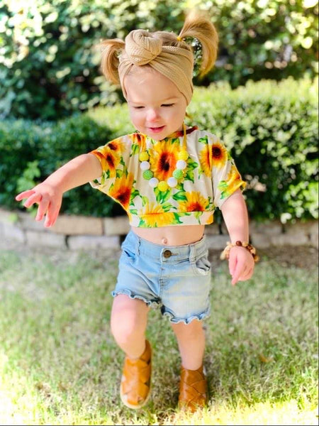 2T Sunflower Crop Top RTS