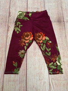 RTS Burgundy Floral Leggings