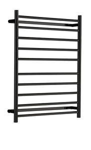 Heated Towel Rail. Flat Round 10 Bars 900 mm x 700 mm (Black)