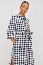 Load image into Gallery viewer, Raminta Shirt Dress in Navy Check