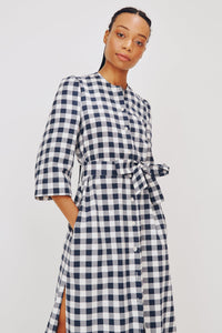 Raminta Shirt Dress in Navy Check