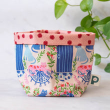 Load image into Gallery viewer, Organic Cotton Fabric Storage Basket 'Holiday Cats'