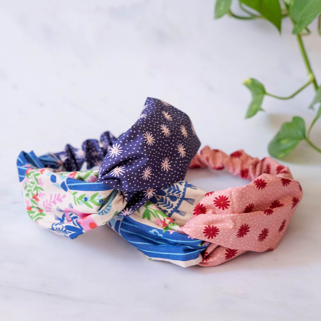 Organic Cotton Turban Headband 'Holiday Cats'
