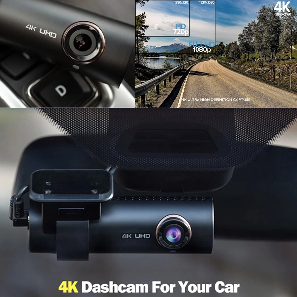 4K UHD Dashcam With Wi-Fi and GPS