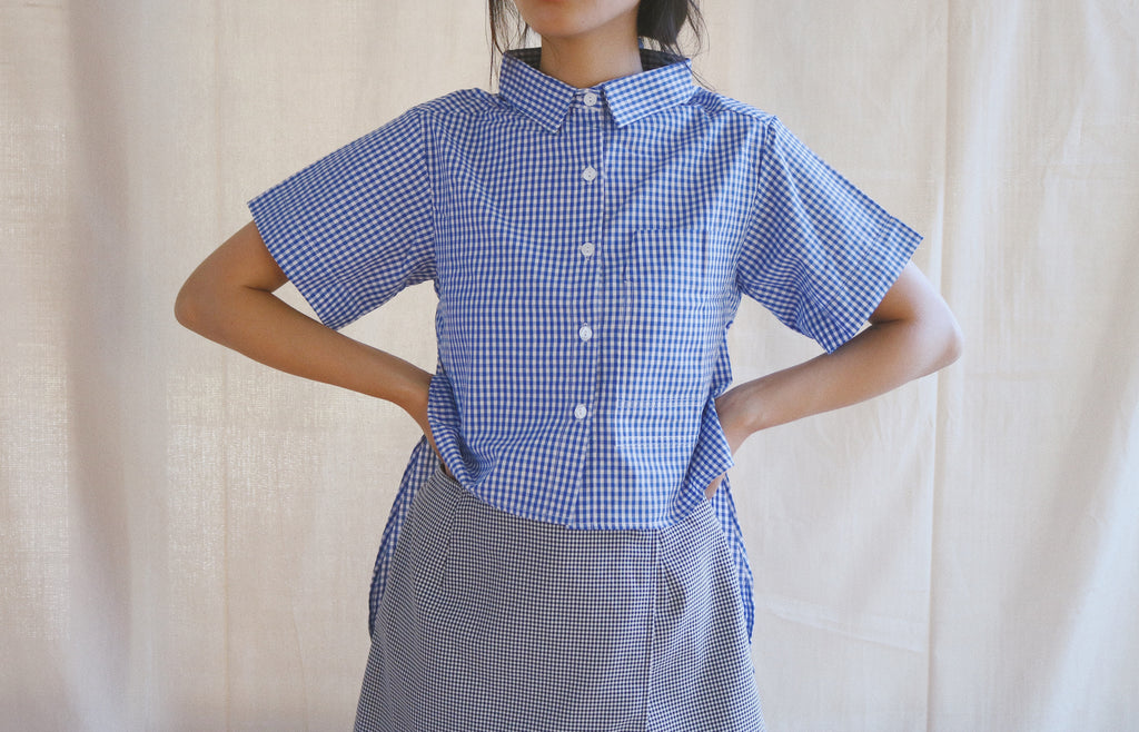 Marquette Shirt in blue white gingham sample