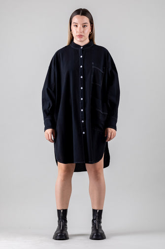 OVERSIZE BUTTON-UP FRONT BACK SHIRT DRESS (Curve Inclusive)