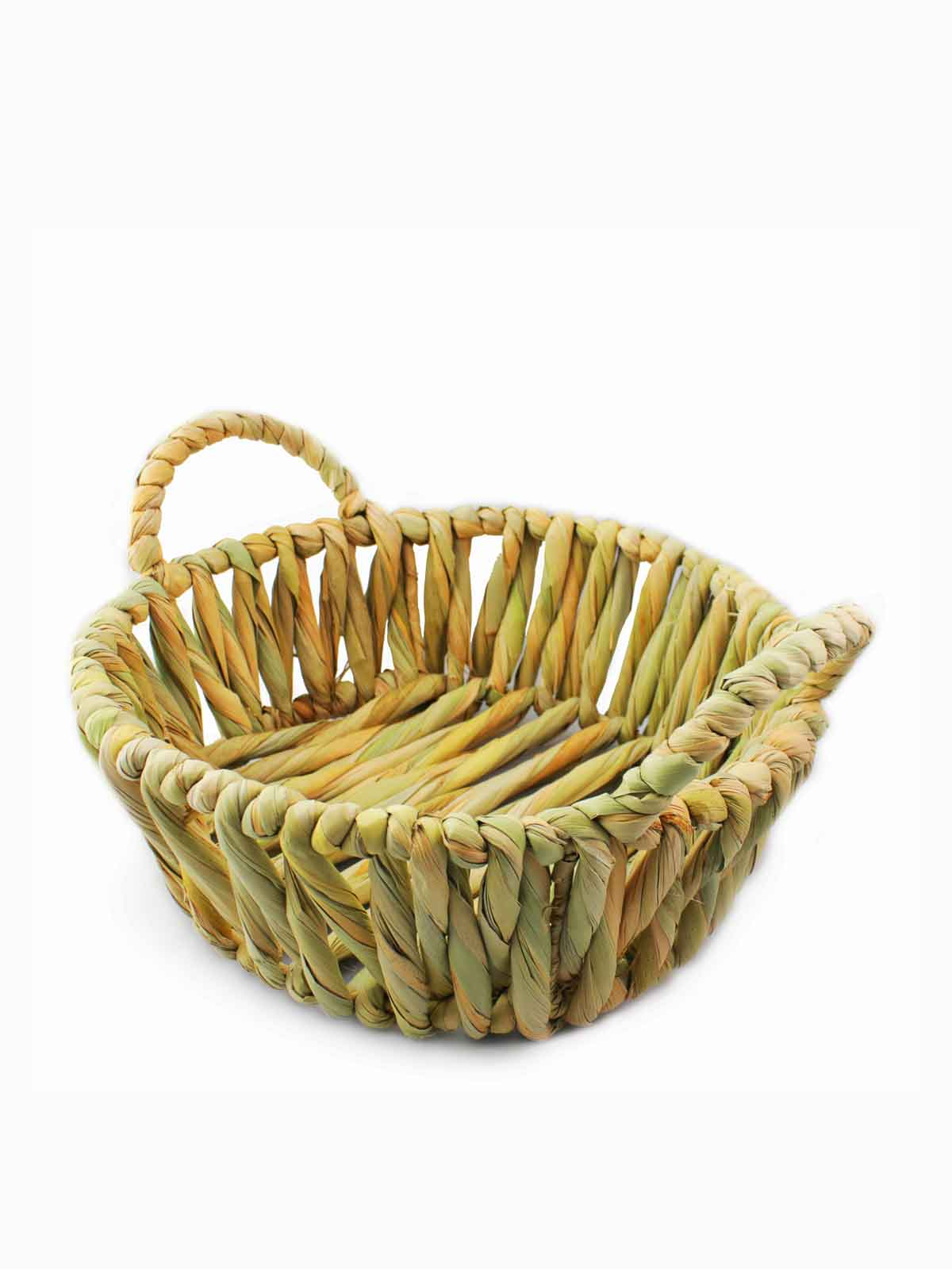 HAND WOVEN PALM BASKET WITH HANDLES