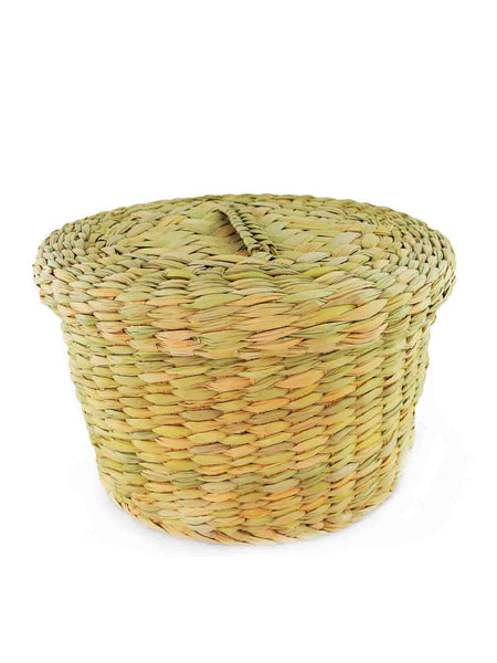 HAND WOVEN PALM BASKET WITH LID