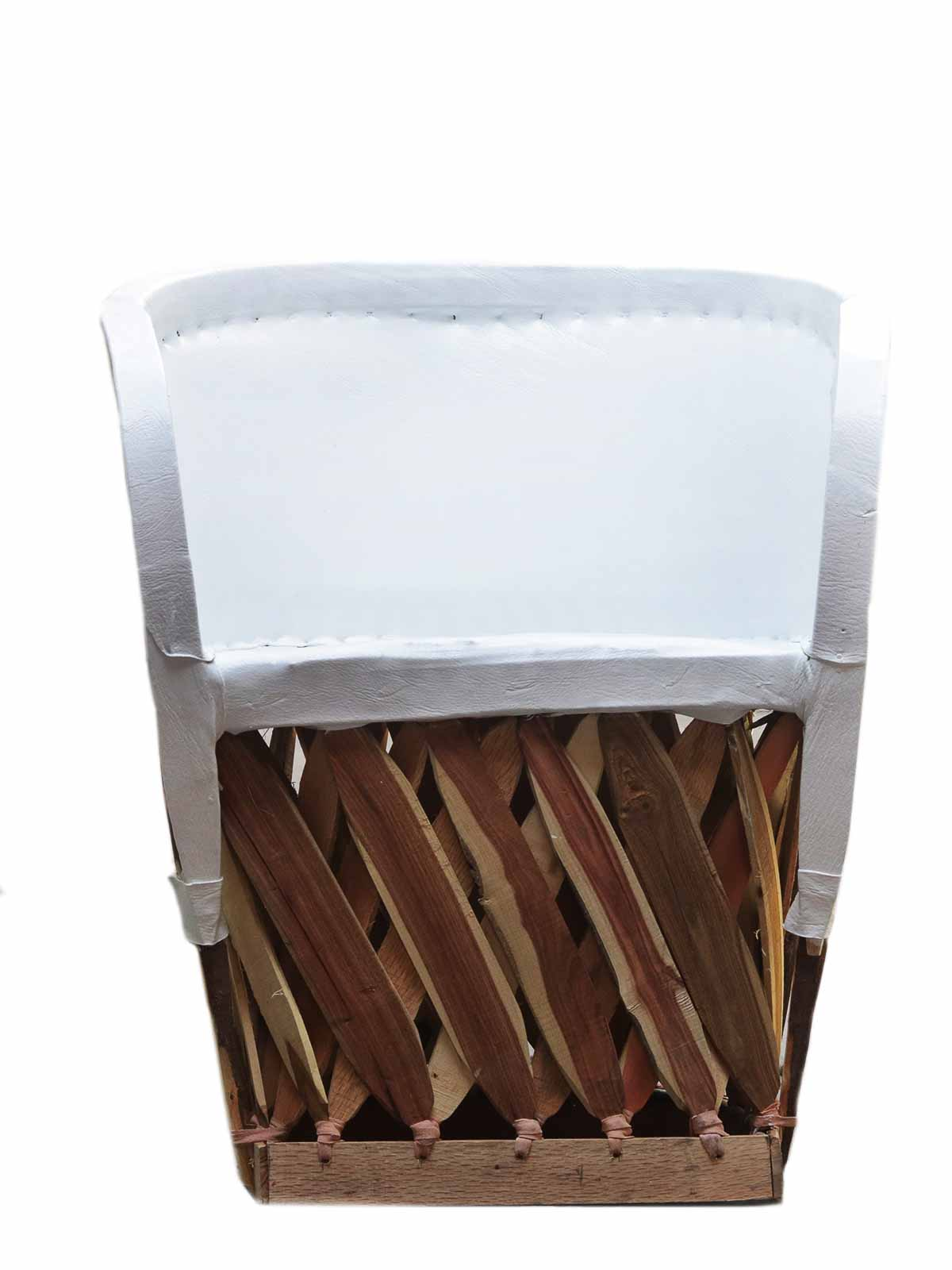 WHITE LEATHER EQUIPAL CHAIR