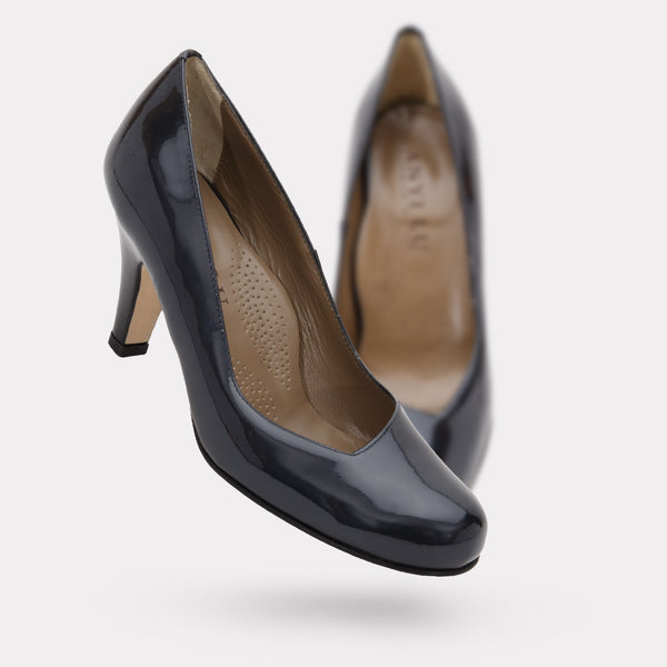 The Emily - Steel Patent / Black Patent Heel