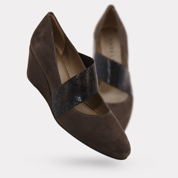 The Katia - Graphite Suede / Black Pitone