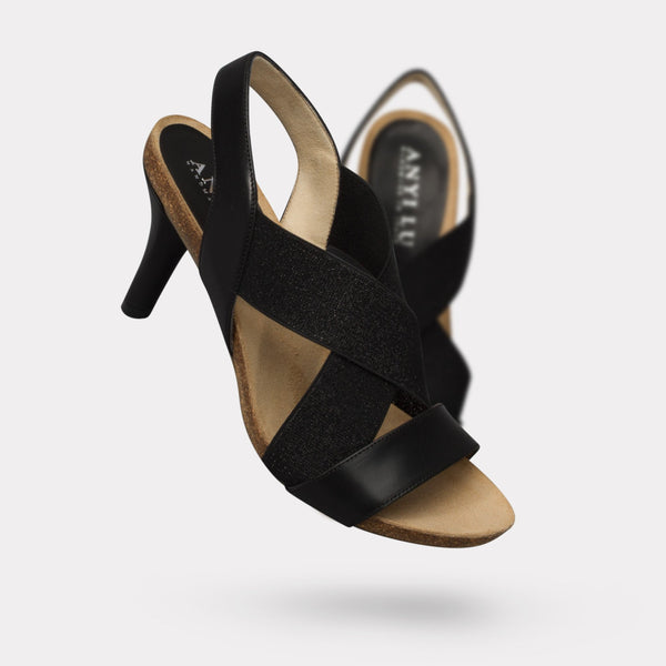 The Bella - Black Calf, Black Shimmer Elastic