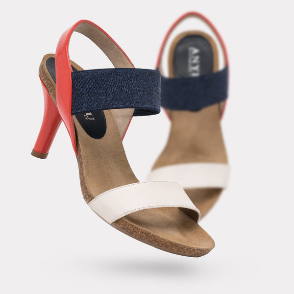 The Bianka - Ivory Calf / Coral Patent / Navy Denim