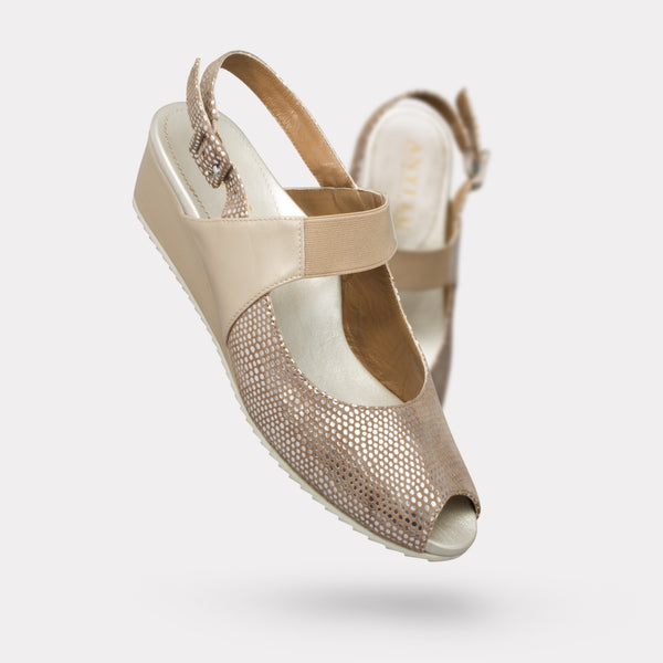 The Carina - Sand Suede, Latte Patent, Nude Stretch