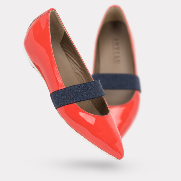 The Dora - Coral Patent / Navy Denim Stretch
