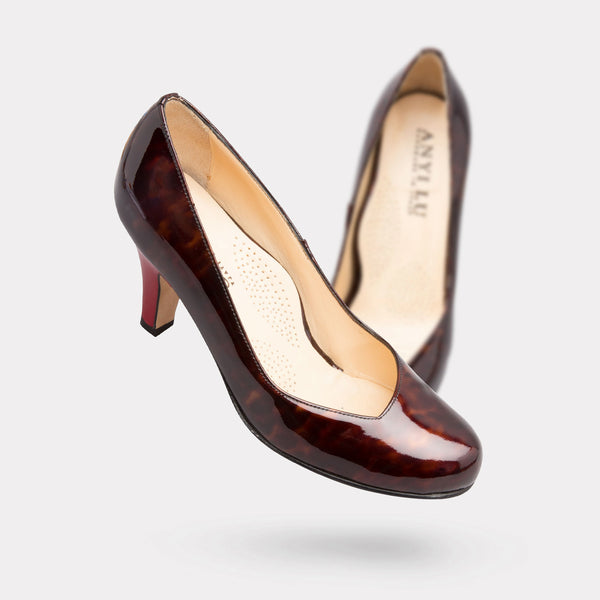 The Emily - Tortoise Shell Patent / Crimson Heel