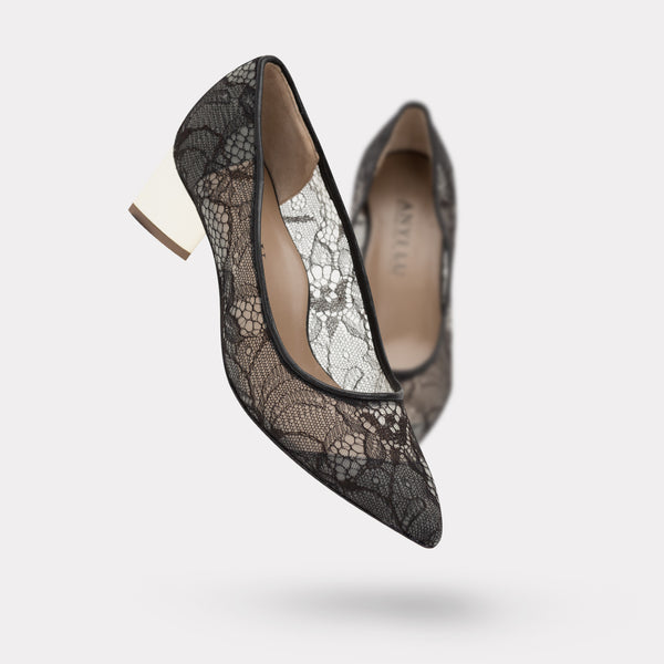 The Gemma - Black Lace / Platinum Laquer