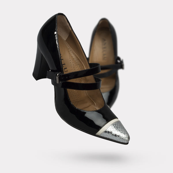 The Stefania - Silver Pitone, Black Patent