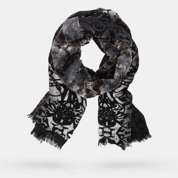 The Brocade Print Scarf - Chinchilla Faux Fur in Black and Ivory