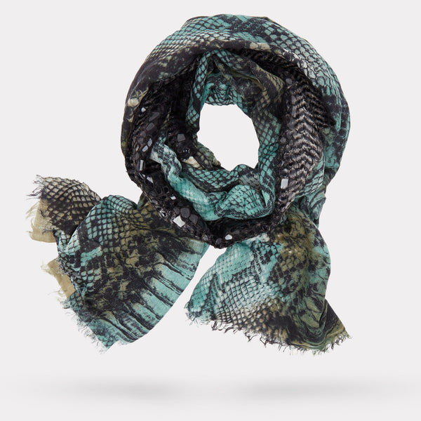 The Python Print Scarf - Sage and Taupe