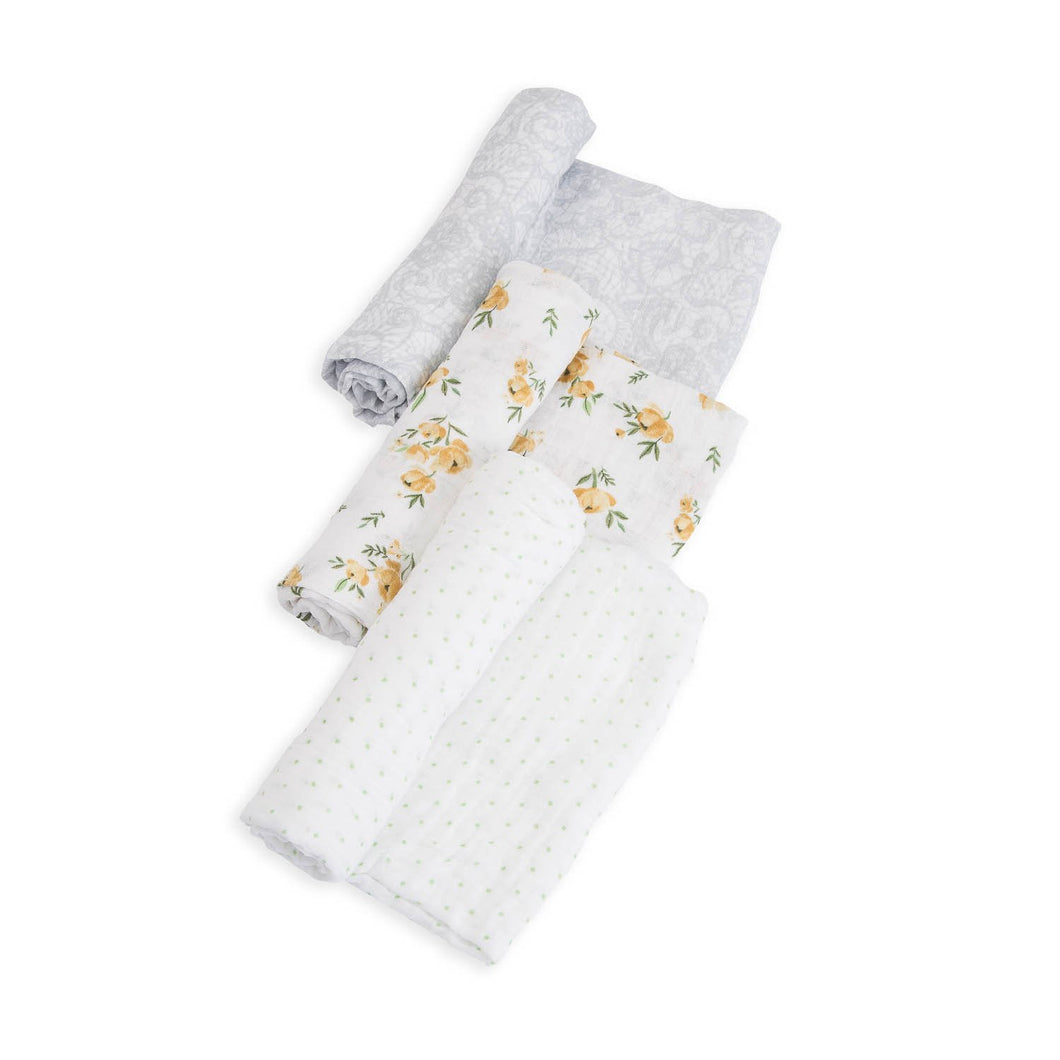 Yellow Rose Set Cotton Muslin Swaddle 3-Pack