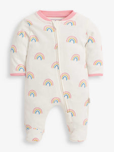 Rainbow Print Zip Sleepsuit Cream