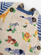 Load image into Gallery viewer, Safari Print Dungarees Set Stone