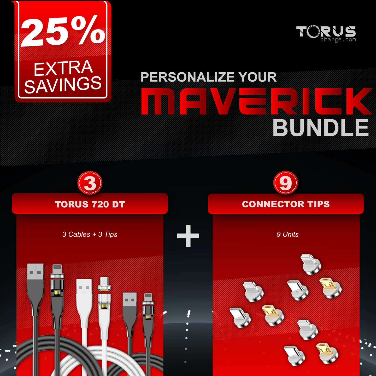 Torus Charge TorusCharge Bundle Maverick Save 25% Includes Torus 720 DT Piano Black or White Pearl With One Tip Connector and 9 Connector Tips UsbC Apple MicroUsb Iphone Samsung others