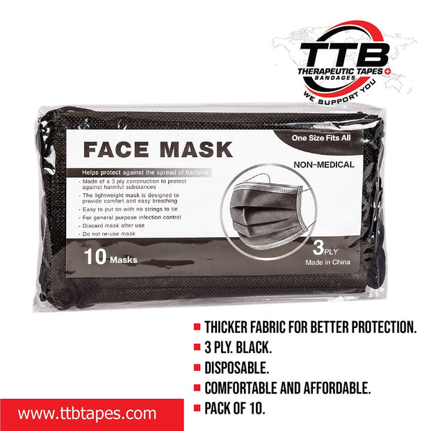 Disposable Face Mask Black  10PCS
