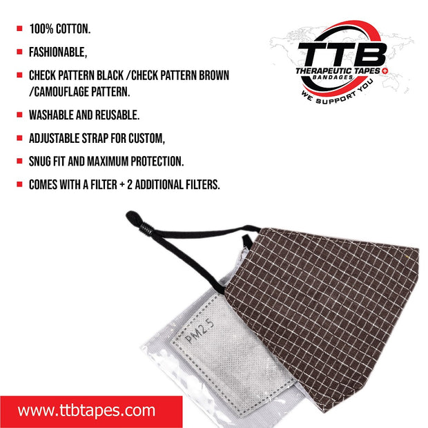 Cotton Reusable Face Mask Brown