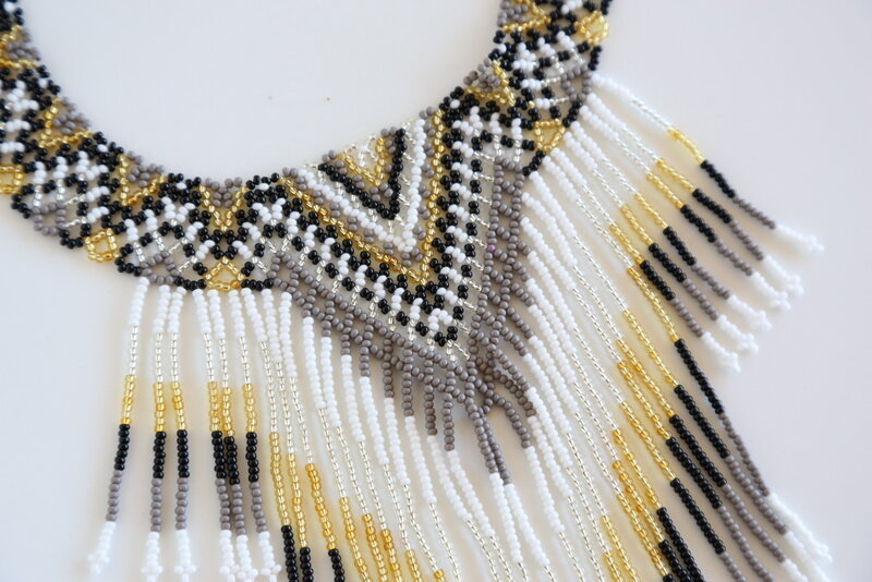 Embera Necklace Fringe Ink