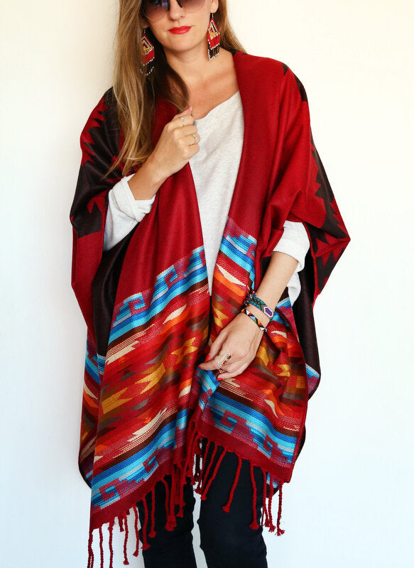 Deep Red Ruana Poncho
