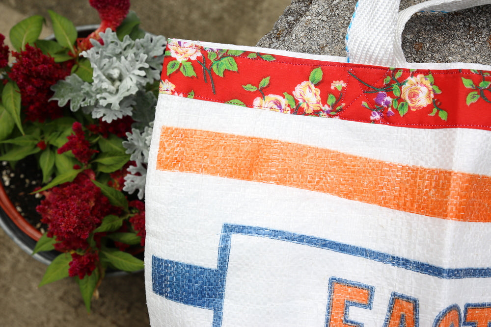 Feed Sack Tote - Red Floral