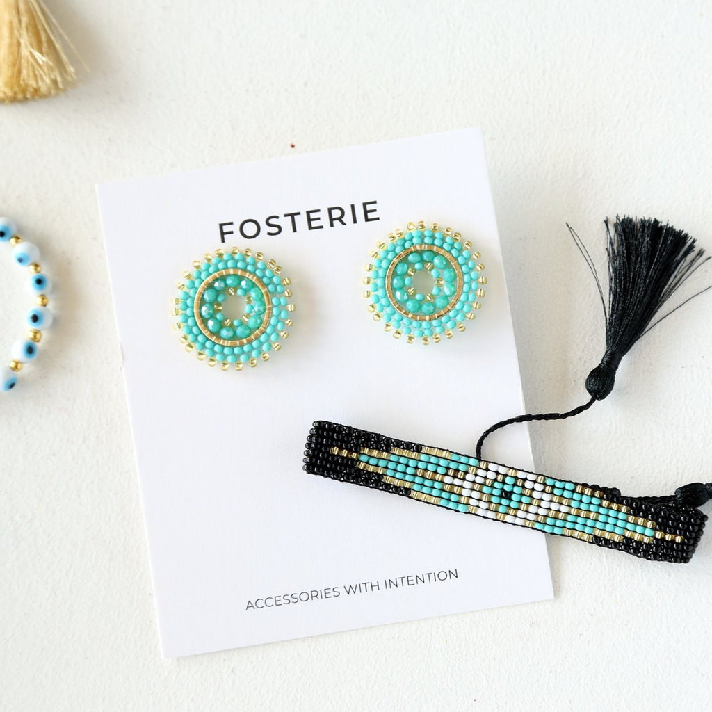 Turquoise Beaded Circle Earring