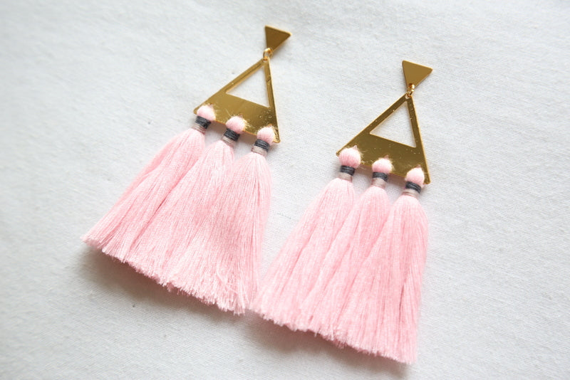 Trío Tassel Earring - Rose Quartz
