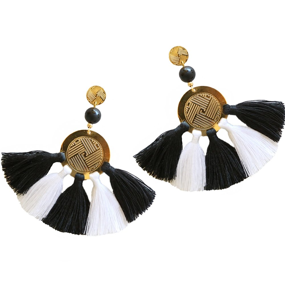 Sol Tassel Earring - Black & White
