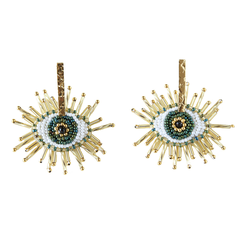 Evil Eye Drop Beaded Earring