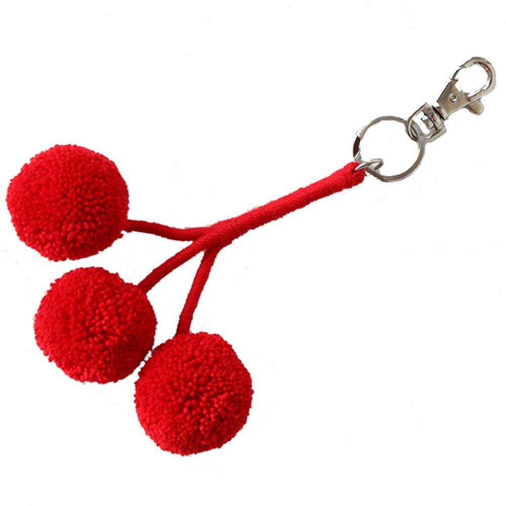 Pom Key Fob Red